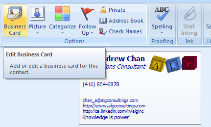 The Edit Business Card Dialog Would Show Up